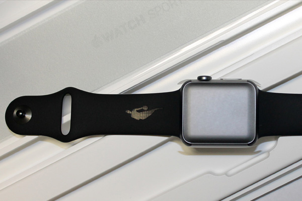 Silicone Apple watch strap with laser engraved NBA logo.