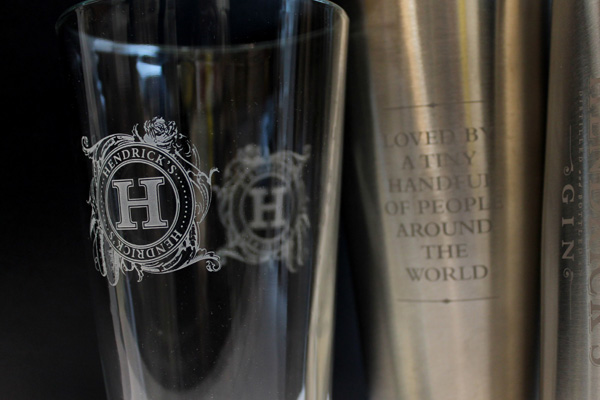 Glass and Mixer with Sandblasted Logo