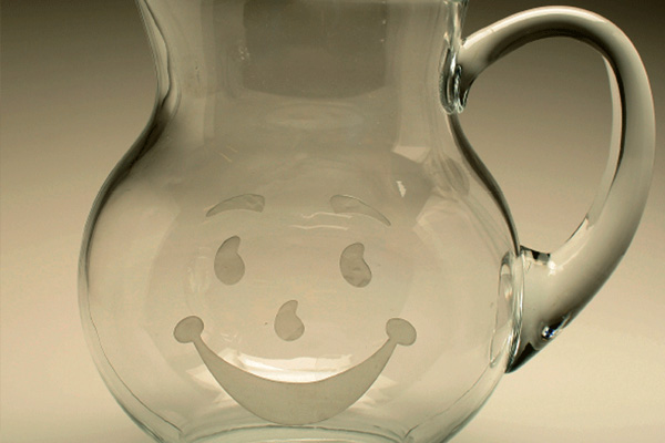 Glass Pitcher with Etched Kool-Aid Smile